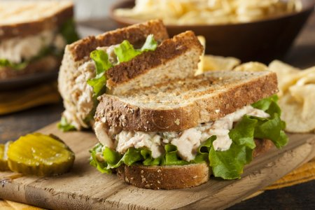 Healthy Tuna Sandwich with Lettuce and a Side of C...