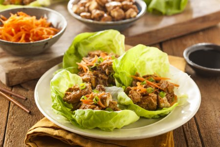 Photo for Healthy Asian Chicken Lettuce Wrap with Carrots - Royalty Free Image