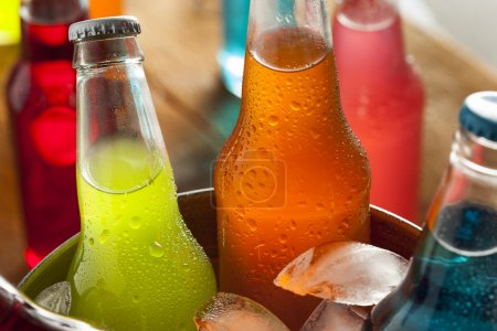 Photo for Assorted Organic Craft Sodas with Cane Sugar - Royalty Free Image