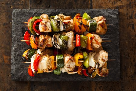 Photo for Homemade Chicken Shish Kabobs with Peppers and Onions - Royalty Free Image