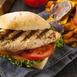 Healthy Grilled Chicken Sandwich with Veggie Chips...