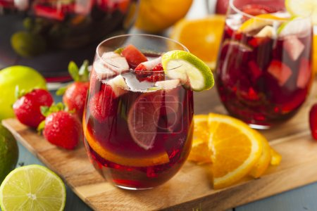 Homemade Delicious Red Sangria with Limes Oranges ...