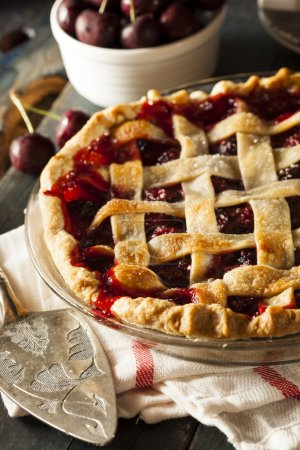 Photo for Delicious Homemade Cherry Pie with a Flaky Crust - Royalty Free Image