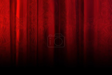 Photo pour Rideau en velours rouge avec un motif chic . - image libre de droit