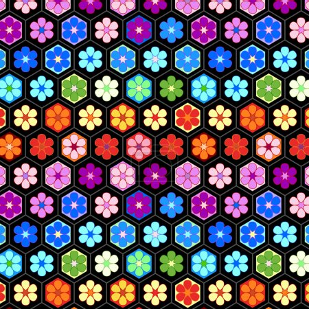 Colorful crochet flowers seamless pattern, vector