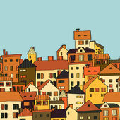 Panorama town in european style seamless pattern orange and green vector