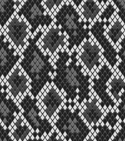 Snake reptile or crocodile skin seamless pattern in shades of grey, vector