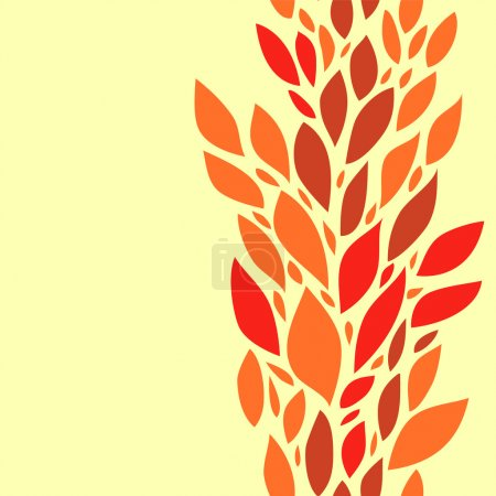Colorful red leaves on yellow seamless background, vector
