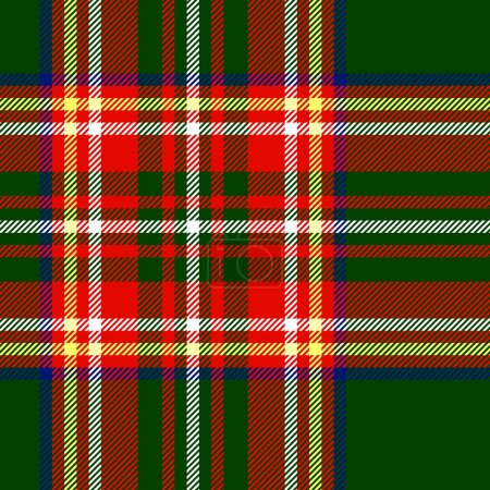 Traditional scottish tartan fabric seamless pattern in red and green, vector