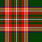 Traditional scottish tartan fabric seamless pattern in red and green vector