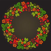 Strawberry flowers leaves and butterflies colorful wreath on black vector
