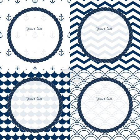Illustration for Navy blue and white travel round frames set on chevron, scalloped and anchor patterned backgrounds, vector - Royalty Free Image