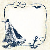 Navy blue prints of a boat anchor and seagull with a marine rope frame on a grunge background vector