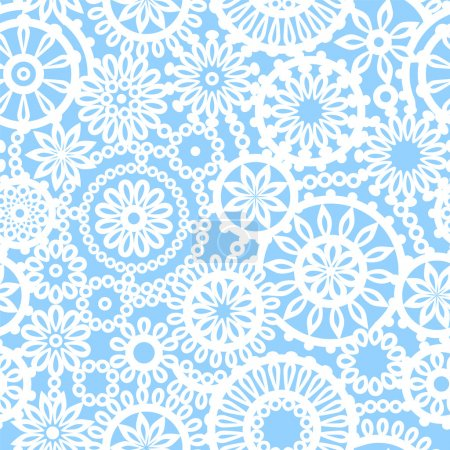 Illustration for Blue and white geometric crochet circle flowers seamless pattern, vector - Royalty Free Image