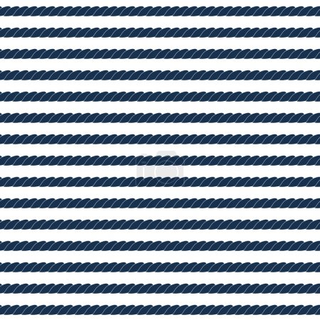 Illustration for Navy rope striped seamless pattern in blue and white, vector - Royalty Free Image