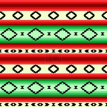 Illustration pour Couverture mexicaine géométrique sans soudure rayures en vert et rouge, le vecteur - image libre de droit