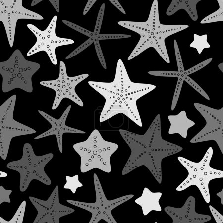 Black white and gray starfish seamless pattern, vector