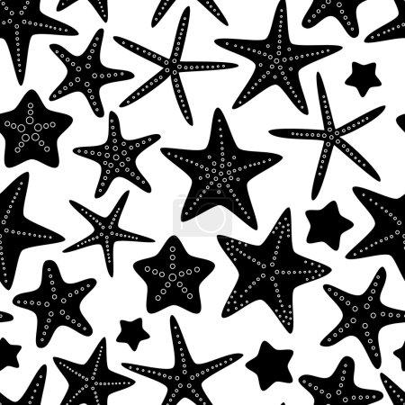 Black and white starfish seamless pattern, vector