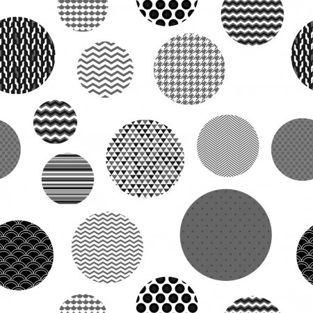 Black and white patterned circles geometric seamless pattern, vector