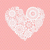 White crochet lace flowers heart on pink mesh romantic greeting card vector background
