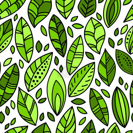 Illustration for Green fresh leaves doodles on white seamless pattern, vector - Royalty Free Image