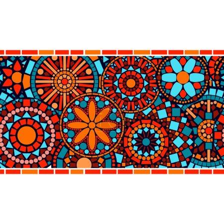Illustration for Colorful circle floral mandalas horizontal seamless border, vector - Royalty Free Image