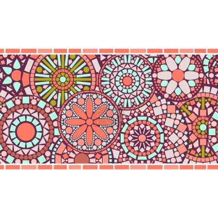 Illustration for Colorful circle floral mandalas horizontal seamless pattern border in pink, vector - Royalty Free Image