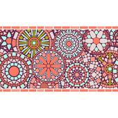 Colorful circle floral mandalas horizontal seamless pattern border in pink vector