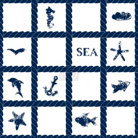 Navy blue rope lattice on white geometric seamless pattern with grunge sea symbols - fishes, dolphin, anchor, starfish, vector