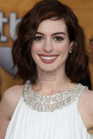 Photo for Anne Hathaway arriving at the Screen Actors Guild Awards, at the Shrine Auditorium in Los Angeles, CA on January 25, 2009 - Royalty Free Image