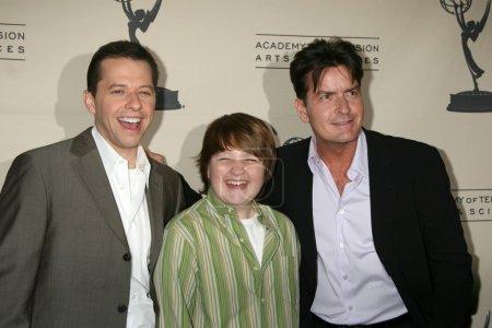 Photo for LOS ANGELES - FEB 27: Jon Cryer, Angus T. Jones, and Charlie Sheen arrive at the Two and a Half Men - Panel at The Academy of Television Arts and Sciences on February 27, 2008 in North Hollywood, CA - Royalty Free Image