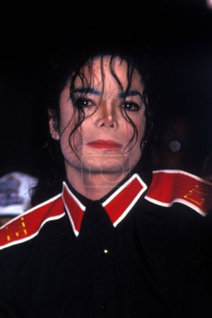 Michael Jackson at Press Conference for the NFL Superbowl appearance he made in January 31, 1993. This photo taken in 1992, specific date unknown, Los Angeles, CA