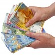 Swiss francs banknotes hold in female hand...