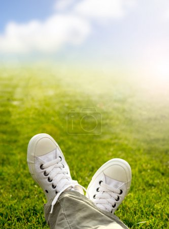 A pair of white trainers in the grass in the sunshine