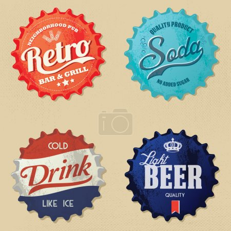 Illustration for Retro bottle cap Design - Vintage bottle caps - Royalty Free Image