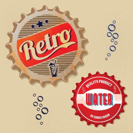 Illustration pour Conception de bouchon de bouteille rétro - style Grunge - image libre de droit