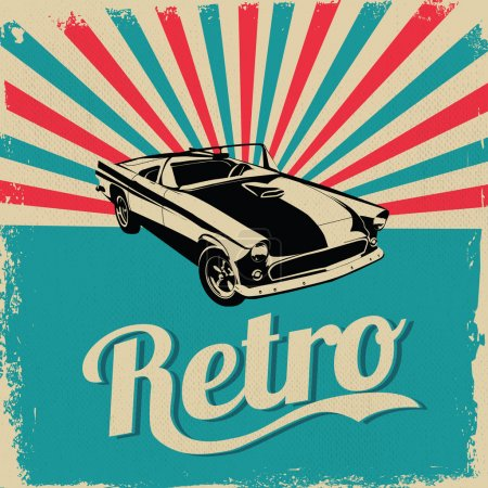 Vintage car design flyer - Grungy style vector design