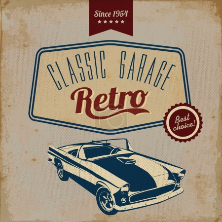 Illustration for Vintage car design flyer - Grungy style vector design - Royalty Free Image