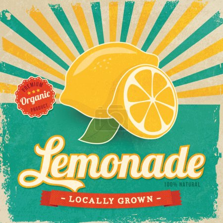 Illustration for Colorful vintage Lemonade label poster vector illustration - Royalty Free Image