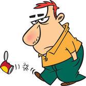 Clipart kreslený nevrlý muž kopal can - royalty free vektorové ilustrace ron leishman