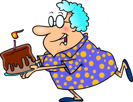A Cartoon of an Eldery Woman Running with a Birthday Cake