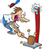 Cartoon Man Playing the High Striker Game Clipart Image