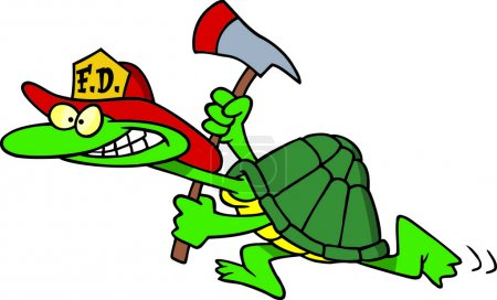 Fire fighter tortoise carrying an axe, on a white background.