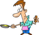 Man With Eggs in a Frying Pan