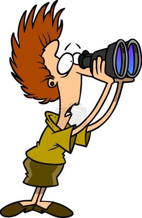 Cartoon Woman Looking Through Binoculars...