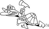 Cartoon Turtle Firefighter