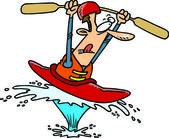 Cartoon Man in Kayak