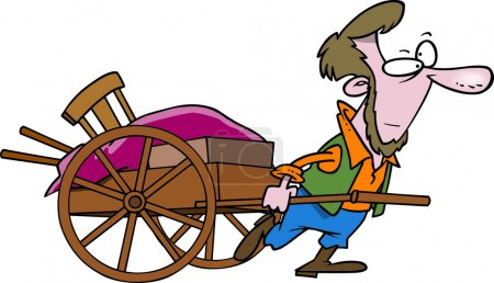 Cartoon Amish Man Pulling Cart