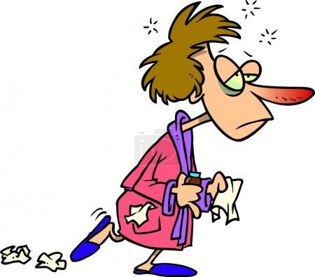 Illustration pour Femme de bande dessinée avec grippe froide - image libre de droit