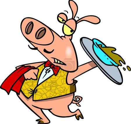 Cartoon Pig Waiter Serving Slop
